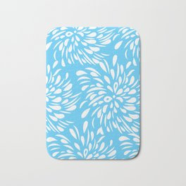 DAHLIA FLOWER RAIN DROPS TEAR DROPS SWIRLS PATTERN Bath Mat