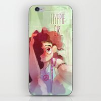 hippy iPhone & iPod Skins featuring Hippy girl by Francesco Malin