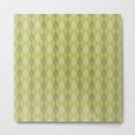 Textured Argyle in Apple, Avocado and Olive Greens Metal Print