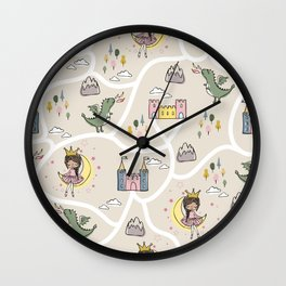 Childish seamless pattern with princess and dragon beige background Wall Clock