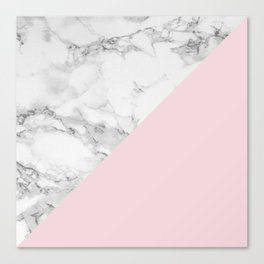Marble + Pastel Pink Canvas Print