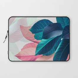 Pink and Blue Leaf Laptop Sleeve