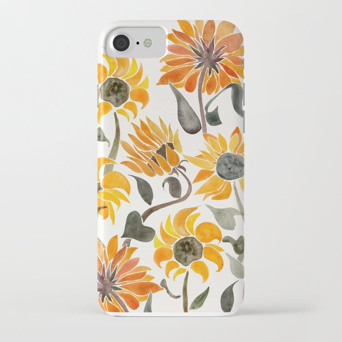 sunflower watercolor – yellow & black palette iphone case