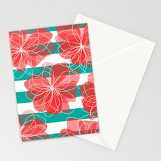 Camelia Coral and Turquoise Stationery Cards