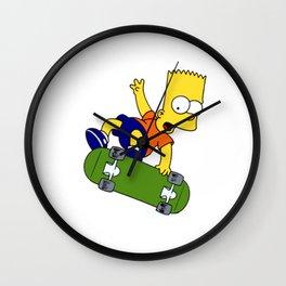 bart simpson skateboard Wall Clock