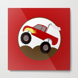 Monster Truck Red Metal Print