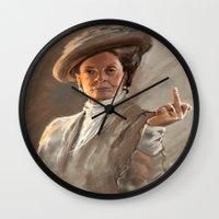 downton abbey Wall Clocks featuring Downton FU by Wanker & Wanker