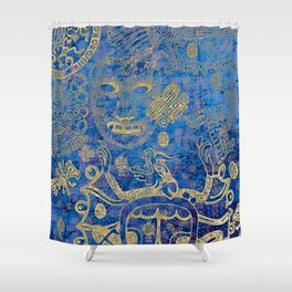 Mexican gold on blue Shower Curtain
