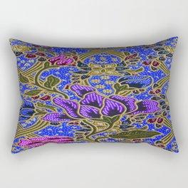 Neon Blue Purple Floral Pattern Leafs Rectangular Pillow