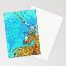Ancient Magic World Map Wall Art Stationery Cards