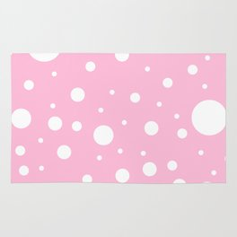 Mixed Polka Dots - White on Cotton Candy Pink Rug