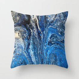 Abstract Acrylic Pour Art - Spaced Throw Pillow