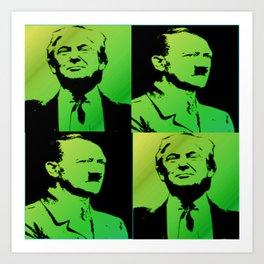 Trump with Adolf pop art green Art Print