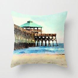 Folly Beach Pier - Folly Beach, SC - Charleston South Carolina Throw Pillow