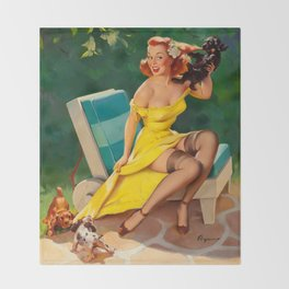 Pin Up Girl and Puppies Throw Blanket