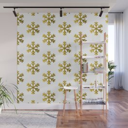 Gold glitter snowflakes pattern design on white Wall Mural