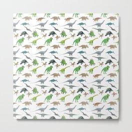 Various Dinosaurs Pattern Metal Print
