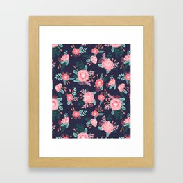 Peony floral bouquet navy pink bright happy flowers dorm college office decor must have pattern Framed Art Print