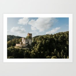Castle on the hill | Drone | Colourful Travel Photography | Waldkirch, Germany (Europe) Art Print