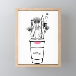 Makeup brush set and coffee cup fashion illustration Framed Mini Art Print