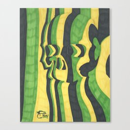 Skull in Green Canvas Print