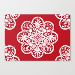 Floral Doily Pattern | Red and White Canvas Print