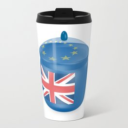 Flag of the Great Britain. Bowl with a translucent cover. The symbol of the European Union. Travel Mug