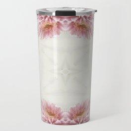Pink Chrysanthemums Kaleidoscope Art 9 Travel Mug