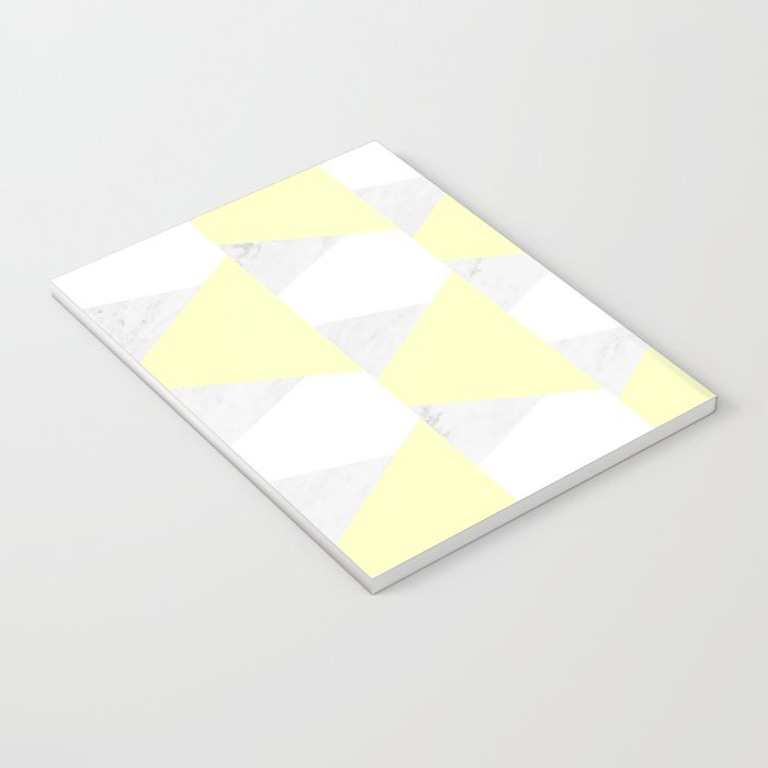 Yellow White Marble Triangles Notebook