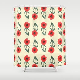 Red poppies with pale yellow background | Spring vibrant pattern Shower Curtain