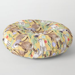 Ragdoll Cats pattern in yellow Floor Pillow