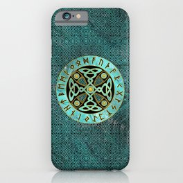 Decorative Celtic Cross  - and Runes alphabet iPhone Case