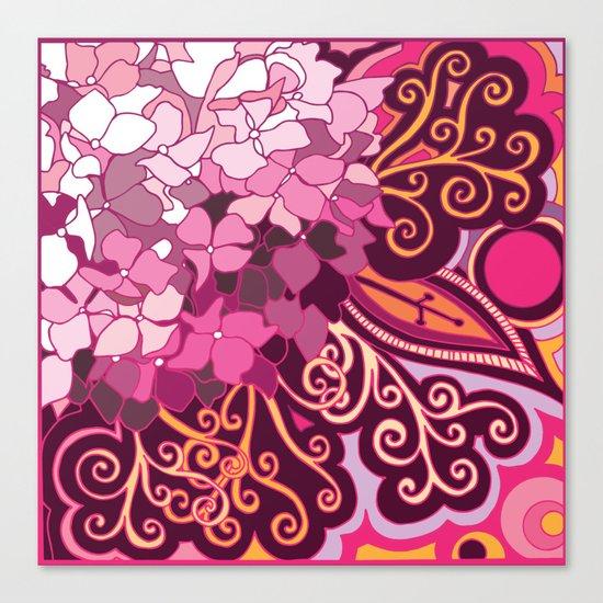 zentangle inspired Hortensia_rose pink doodle Canvas Print