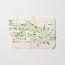Vintage Map of Lake Champlain (1739) Bath Mat