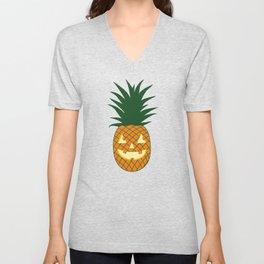 Carved Pineapple Hawaiian Halloween Unisex V-Neck
