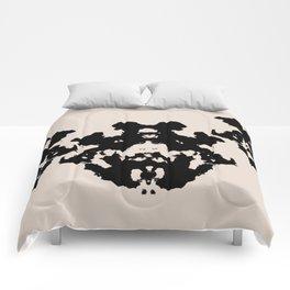 Black Rorschach inkblot Comforters