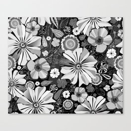 Summer Garden Black and White Painterly Canvas Print