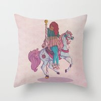 carousel Throw Pillows featuring Carousel by Leigh Wortley