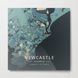 Newcastle, Australia - Cream Blue Metal Print