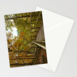 Walkway on the Keswick disused railway path to Penrith above the River Greta. Lake District, UK. Stationery Cards