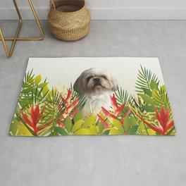 Paul Top Model - shih tzu dog - jungle leaves Rug