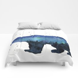 Forest Bear Silhouette Watercolor Galaxy Comforters