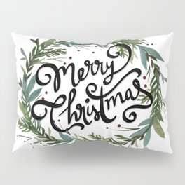 Merry Christmas Wreath Pillow Sham