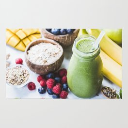 fresh smoothie with fruits, berries, oats and seed Rug