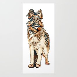 german shepherd (2 years) in front of a white background        - Image Art Print