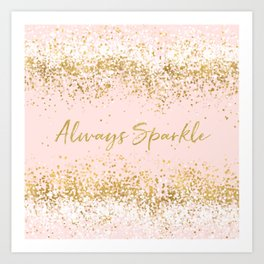Blush Pink Gold White Confetti Sparkle Art Print
