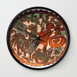 Chinese New Year Rooster Greetings Wall Clock