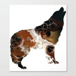 Brown Fluid Wolf Image Art Design Canvas Print