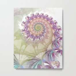 Watercolor Fibonacci Spiral Metal Print