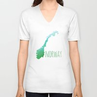 norway V-neck T-shirts featuring Norway by Stephanie Wittenburg
